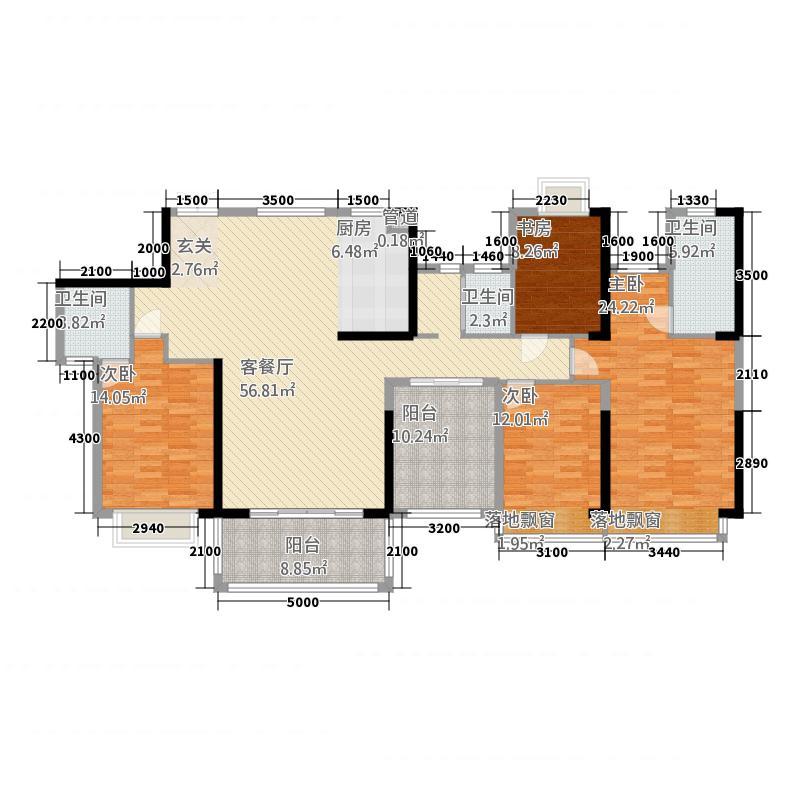 天悦华府81184.32㎡三期8#楼1单元024+4室户型4室2厅3卫1厨