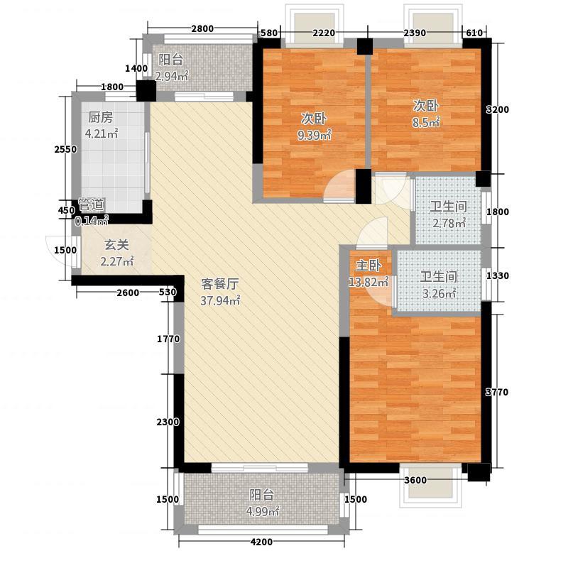 西雅图126.75㎡E12675户型3室2厅2卫1厨