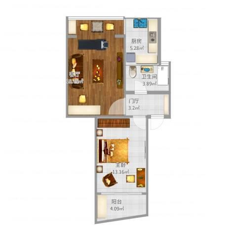 玉华苑551室1厅1卫1厨66.00㎡户型图