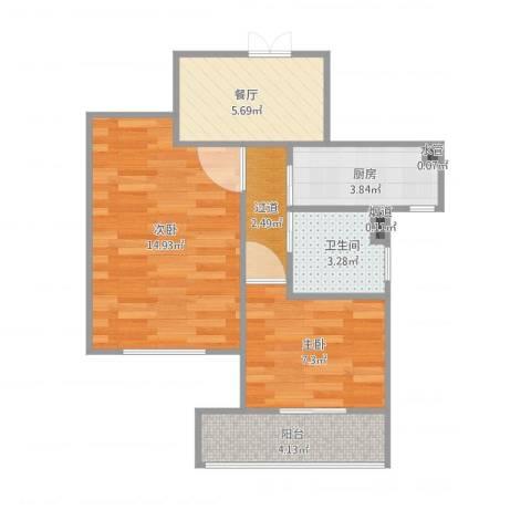 上海宝山2室1厅2卫3厨58.00㎡户型图