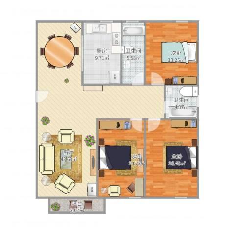高弘家苑3室1厅2卫1厨154.00㎡户型图