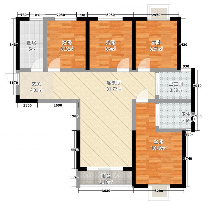 腾瑞・幸福里2612.12㎡2-6A栋A1户型4室2厅2卫1厨