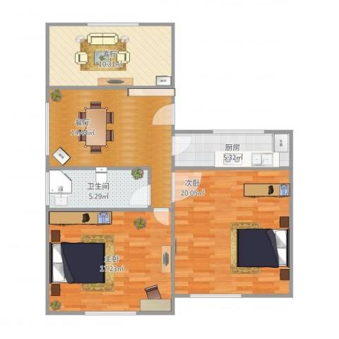 陈家宅2室2厅1卫1厨98.00㎡户型图