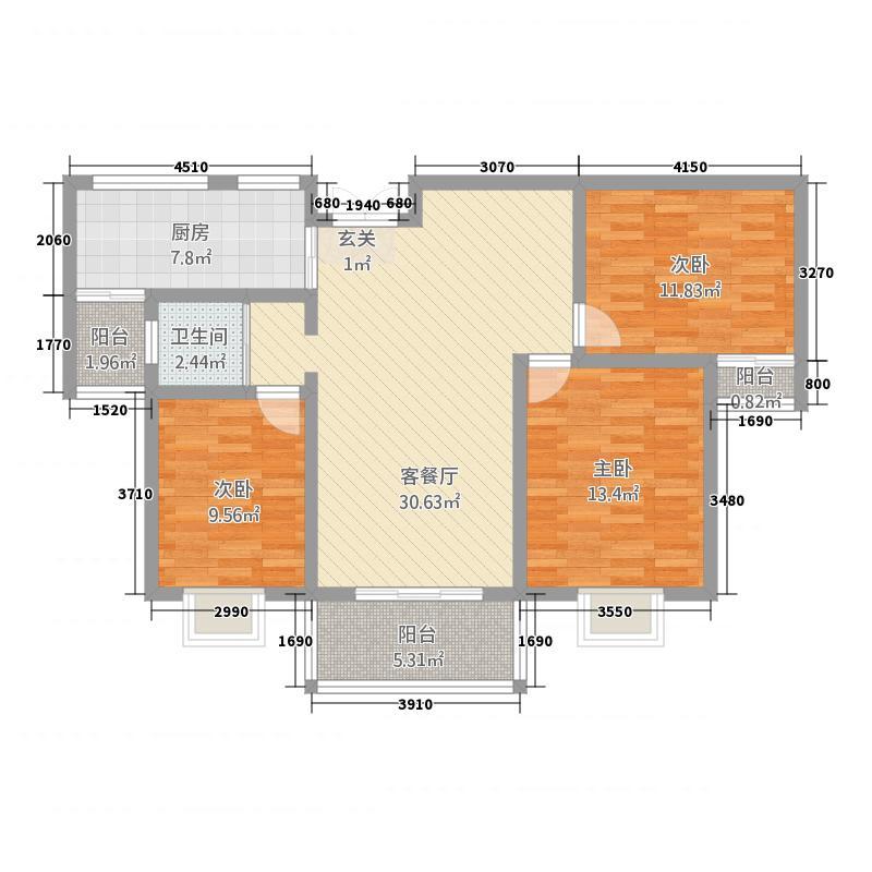 高速甘棠雅苑121.00㎡B户型3室2厅1卫