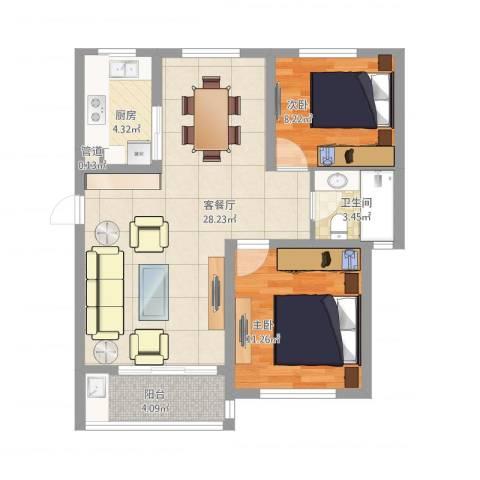 海上印象花园2室1厅1卫1厨86.00㎡户型图