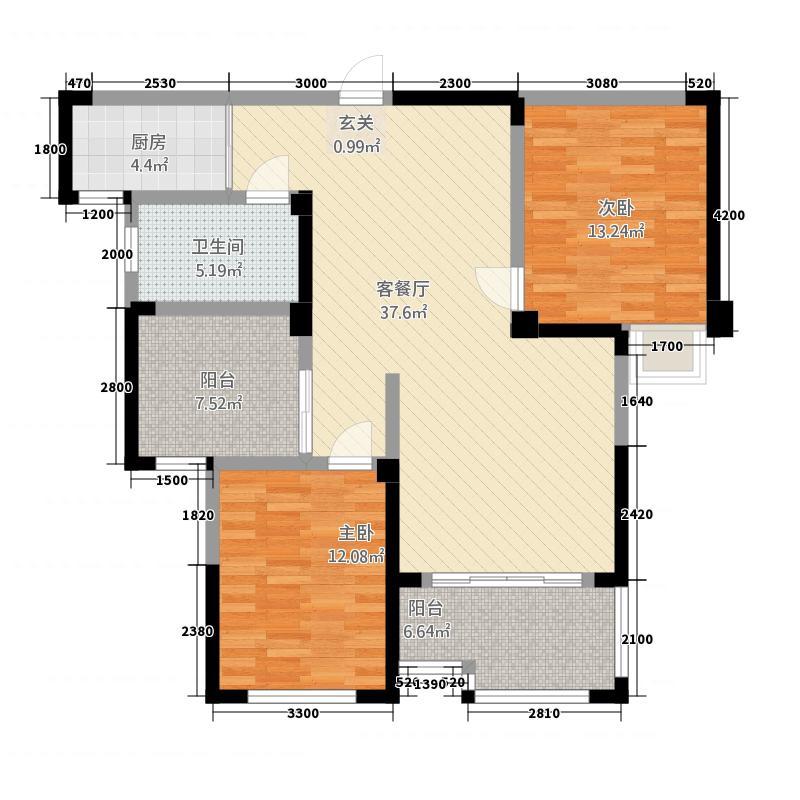 阳光世纪113.00㎡1栋C户型3室2厅1卫1厨