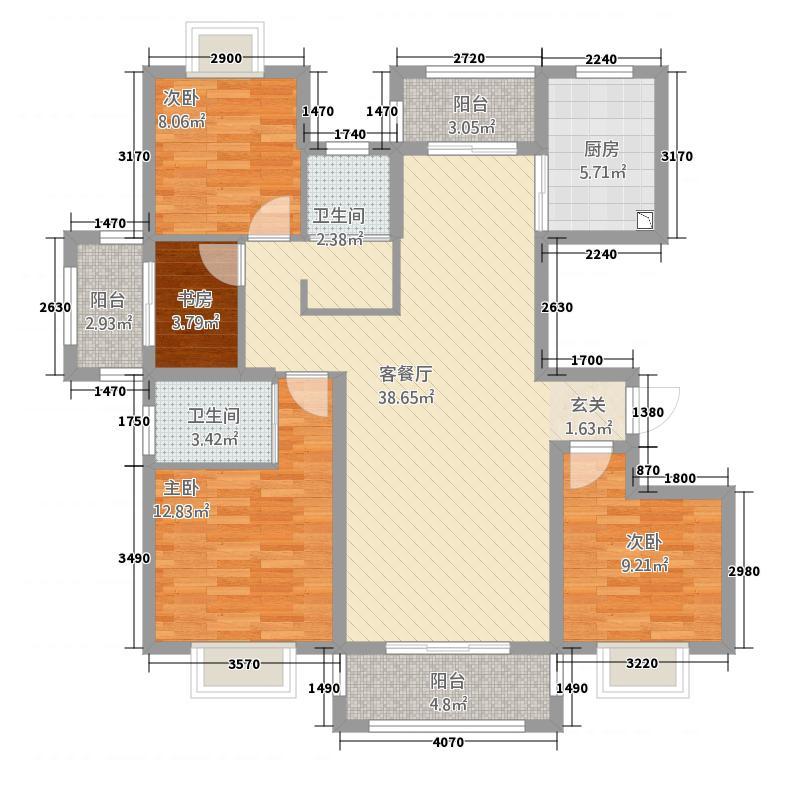 锦悦华庭138.00㎡B4户型4室2厅2卫