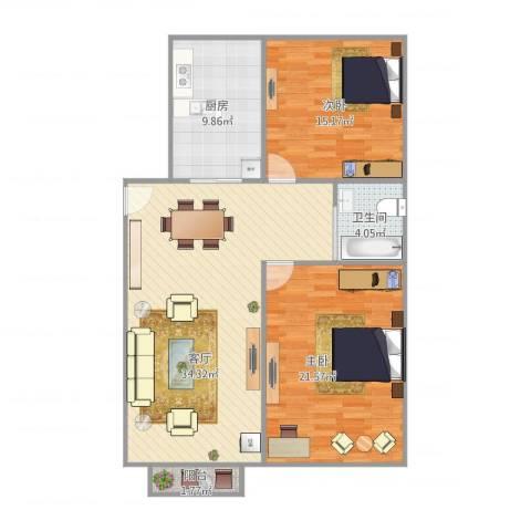 高弘家苑2室1厅1卫1厨115.00㎡户型图