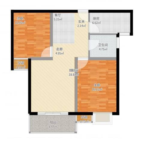 国际花都蓝蝶苑2室1厅1卫1厨112.00㎡户型图