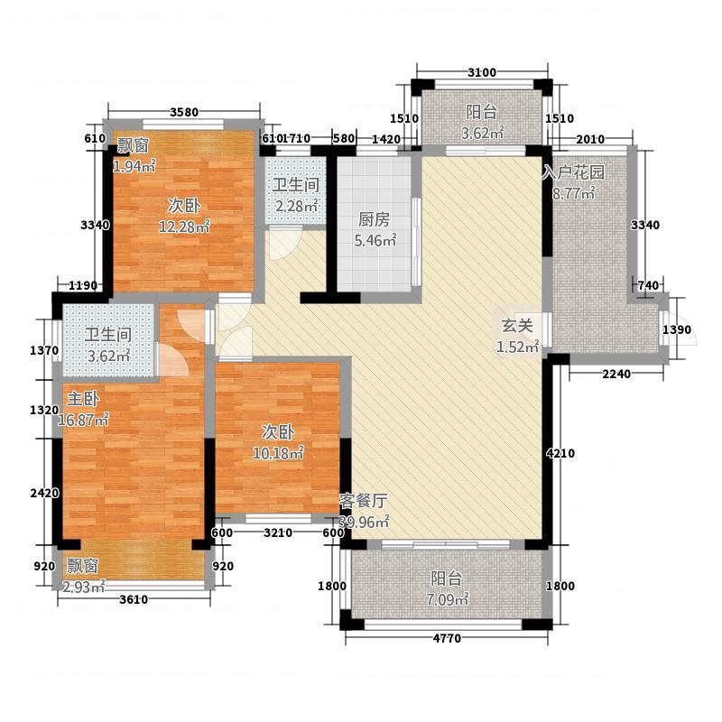 阳光世纪136.00㎡1栋A户型3室2厅2卫1厨