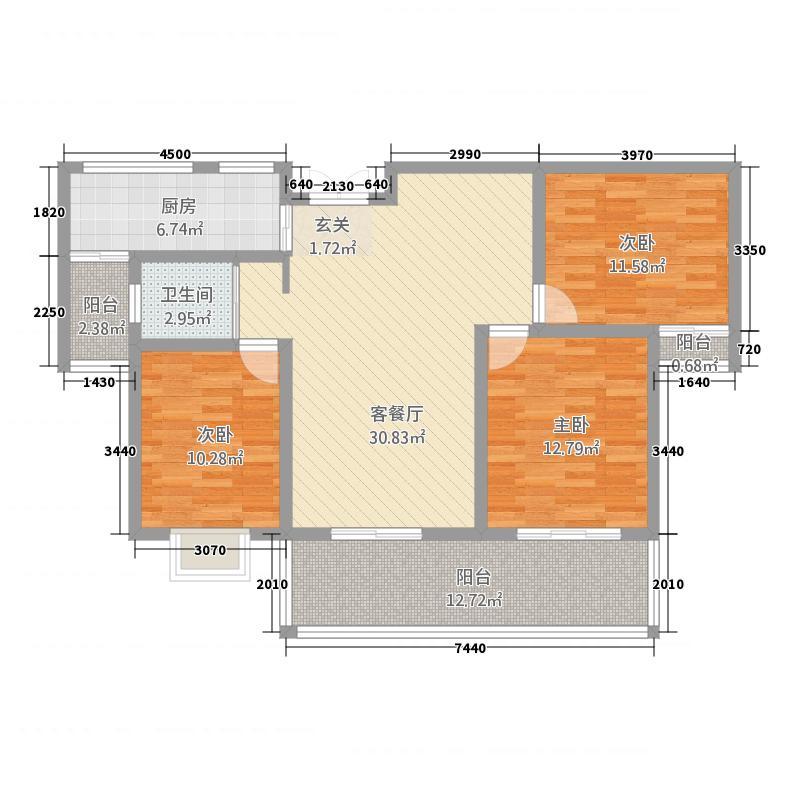 高速甘棠雅苑131.00㎡C户型3室2厅1卫