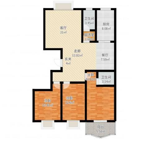 庆馨家园3室1厅2卫1厨156.00㎡户型图