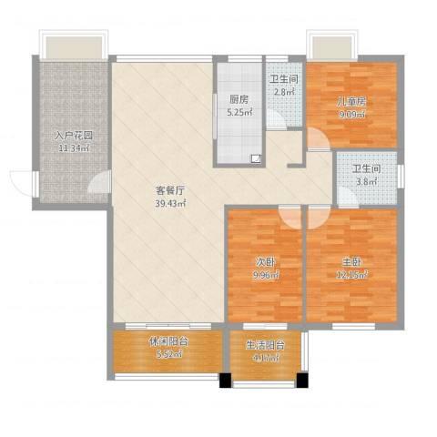 颐和山庄3室1厅4卫2厨145.00㎡户型图