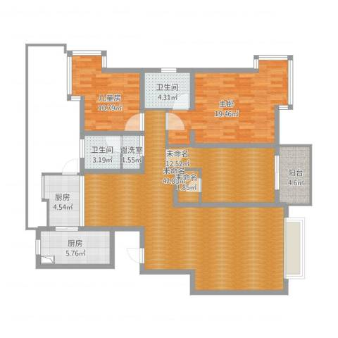 拉德芳斯2室1厅2卫2厨160.00㎡户型图