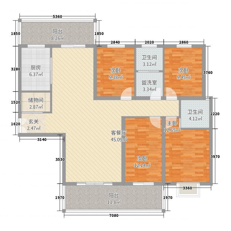 高速甘棠雅苑183.00㎡E户型4室2厅4卫