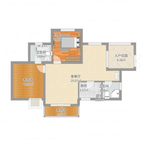 滨湖世纪城春融苑1室1厅2卫1厨94.00㎡户型图
