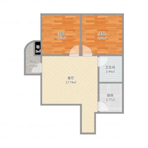银海新村-35栋-14A2室1厅1卫1厨62.00㎡户型图