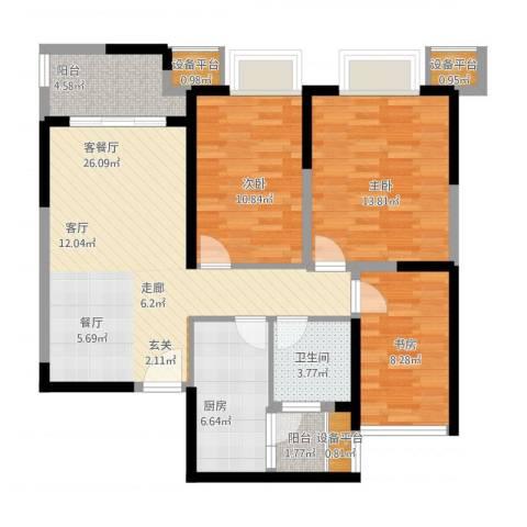 可逸兰亭3室1厅1卫1厨114.00㎡户型图