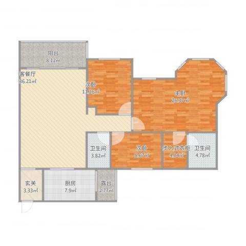 半岛碧桂园3室1厅2卫1厨157.00㎡户型图