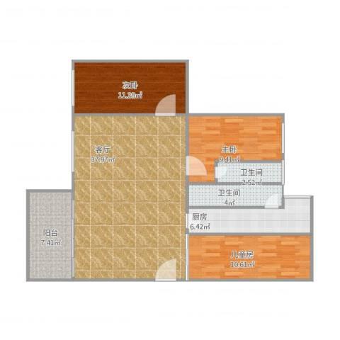 华景苑3室1厅2卫1厨119.00㎡户型图
