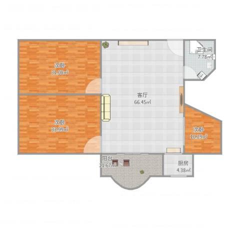 源昌广场3室1厅1卫1厨217.00㎡户型图