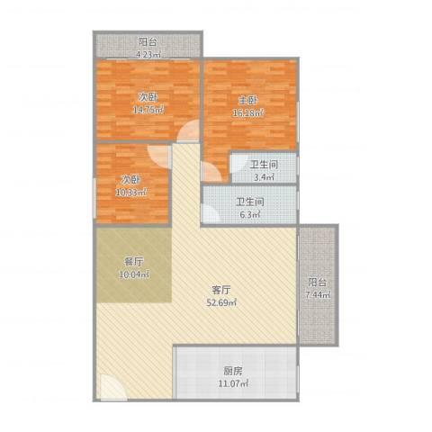 海涛居—单栋4单元3C3室1厅2卫1厨169.00㎡户型图
