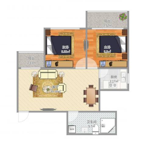 怡福社区B32室1厅1卫1厨70.00㎡户型图