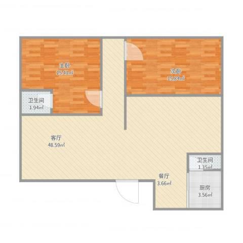 碧翠豪城2室1厅2卫1厨116.00㎡户型图