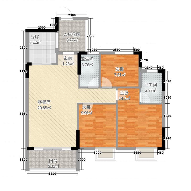 百旺花园17.20㎡3#0310729户型3室2厅2卫1厨