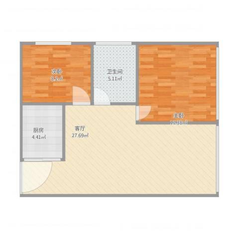 圣地广场2室1厅1卫1厨78.00㎡户型图