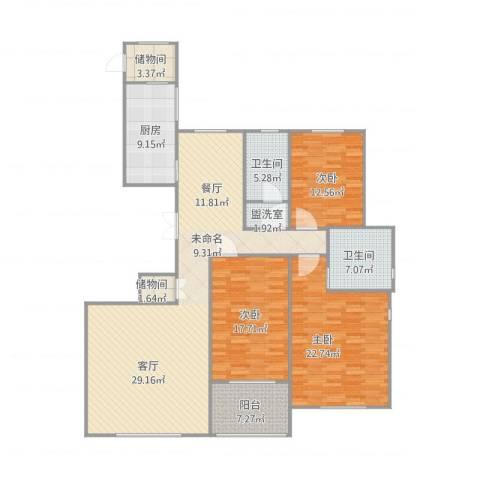 公务员小区3室1厅3卫1厨186.00㎡户型图