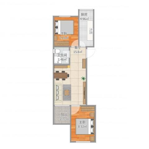 古城环卫楼2室1厅1卫1厨57.00㎡户型图