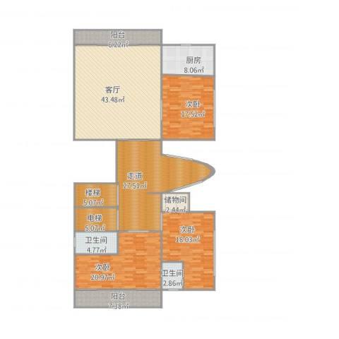 水悦城邦9#0013室1厅2卫1厨226.00㎡户型图