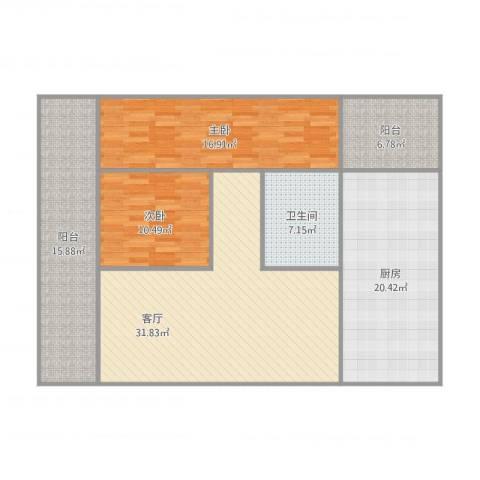 同济广场2室1厅1卫1厨146.00㎡户型图