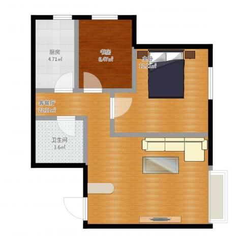 富城铭邸2室1厅1卫1厨69.00㎡户型图