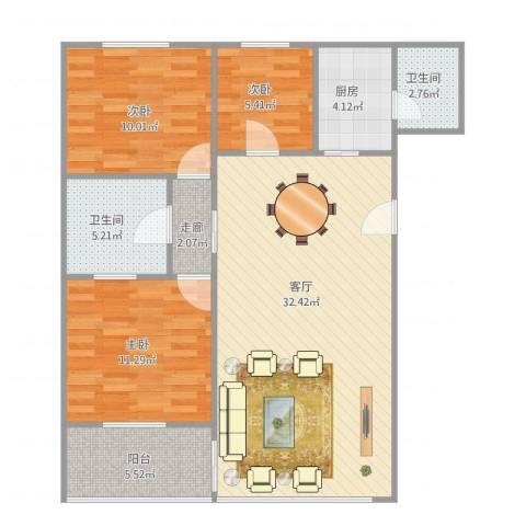 侨都花园3室1厅2卫1厨106.00㎡户型图