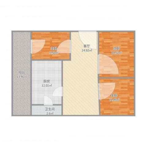 同济广场3室1厅1卫1厨119.00㎡户型图