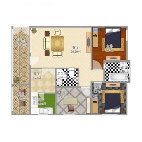 厦门千禧园3室2厅2卫1厨94.00㎡户型图