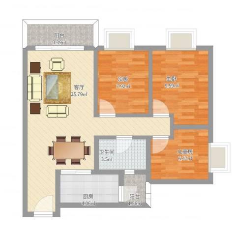 天伦东时区3室1厅1卫1厨91.00㎡户型图