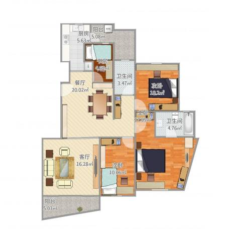 仁恒滨江园4室2厅2卫1厨137.00㎡户型图