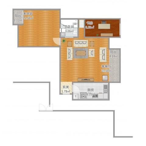 盛世天城二期1室1厅1卫1厨85.00㎡户型图