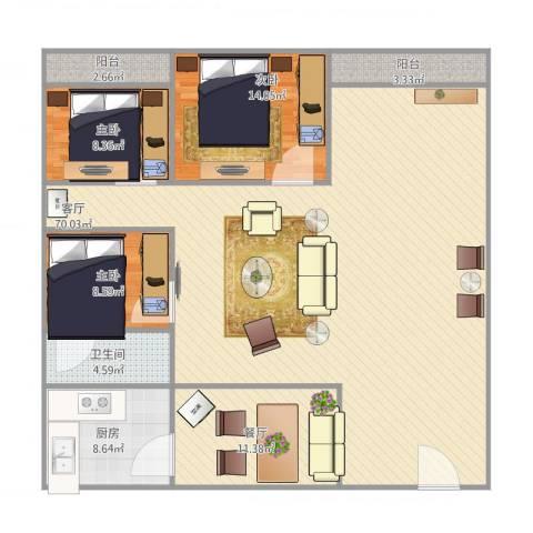 碧翠豪城3室2厅1卫1厨175.00㎡户型图