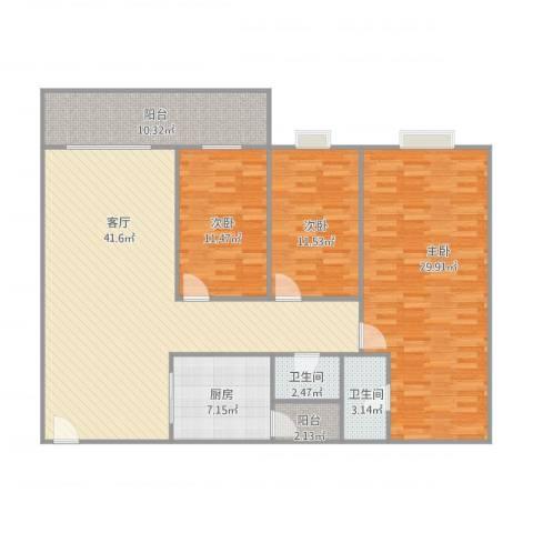 顺联新城花园3室1厅2卫1厨160.00㎡户型图