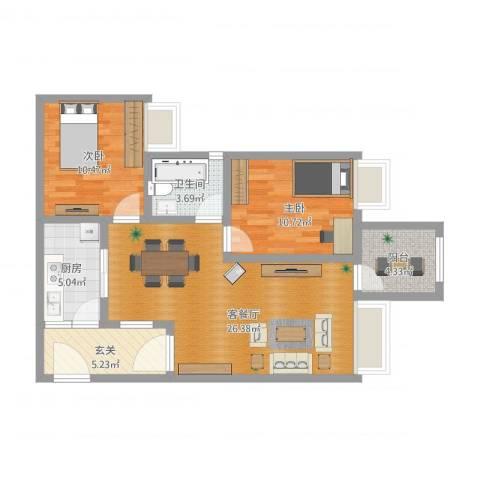 正升时代港湾2室1厅1卫1厨96.00㎡户型图