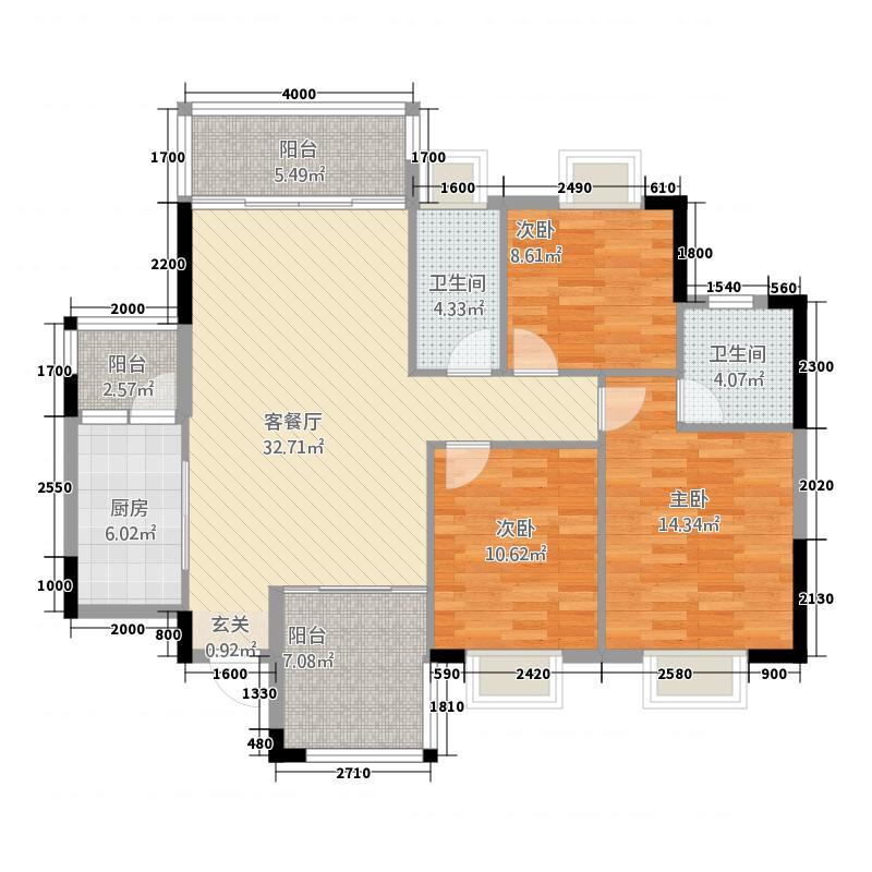 百旺花园122.63㎡3#0112263户型3室2厅2卫1厨
