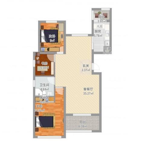 恒瑞大湖山语3室1厅3卫1厨120.00㎡户型图