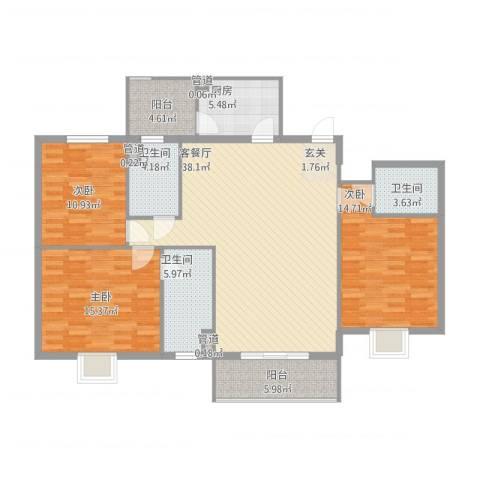 能源华庄3室1厅3卫1厨151.00㎡户型图