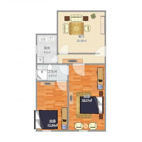 陈家宅2室1厅1卫1厨75.00㎡户型图