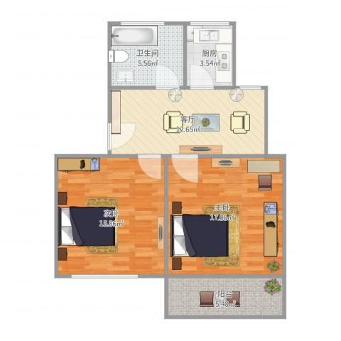 东陆新村六街坊2室1厅1卫1厨81.00㎡户型图