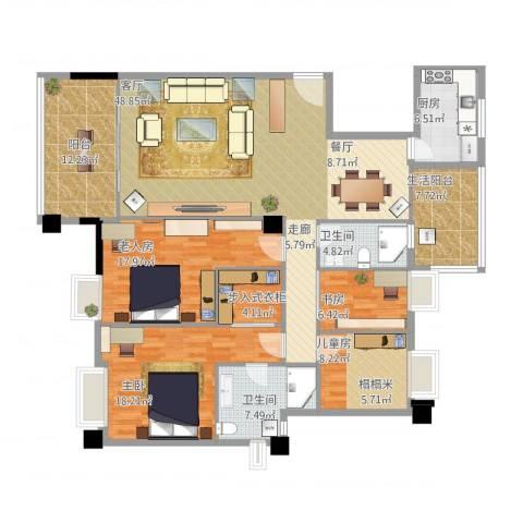 玉兰花园4室1厅2卫1厨197.00㎡户型图